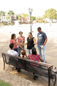Students took to the Alcazar Plaza with their prototypes to solicit feedback from the public.