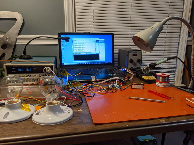 A home-based remote programming station with necessary equipment to develop prototype electronics remotely.