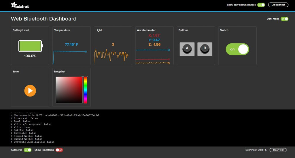 Its web dashboard lets you read sensors and send commands to the onboard speaker and LEDs.
