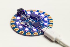 The Adafruit Circuit Playground Bluefruit is another easy-to-use development tool for BTLE devices.