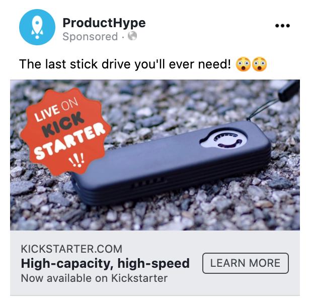 Best Facebook ad for SPEEDSSD Kickstarter