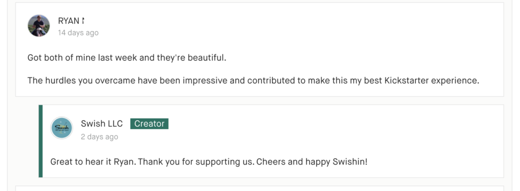 Comment from Swish Backers