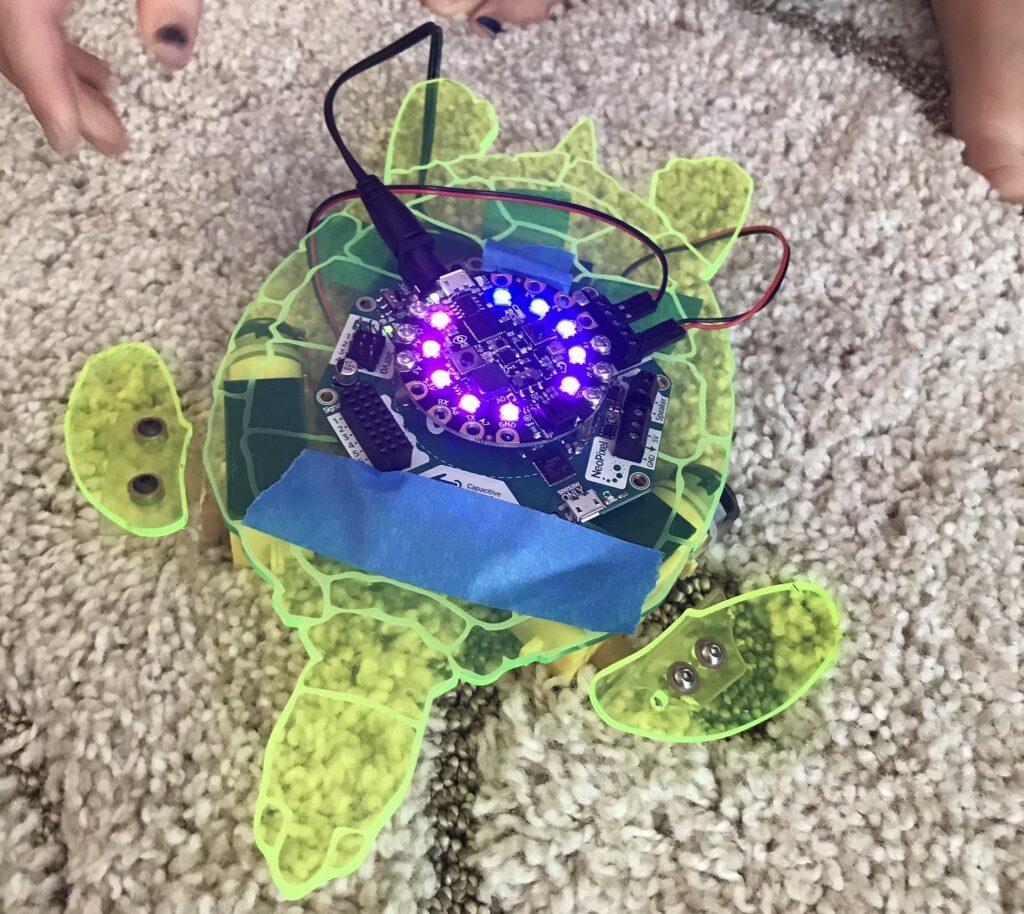 robot turtle prototype using the Adafruit Circuit Playground microcontroller